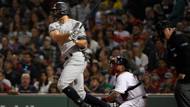 New York Yankees' Giancarlo Stanton, Red Sox's Christian Vázquez