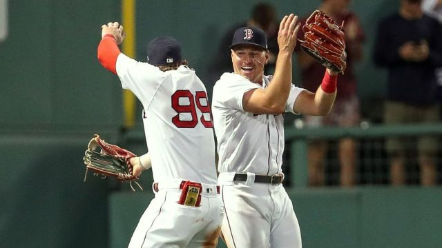Boston Red Sox outfielders Hunter Renfroe, Alex Verdugo