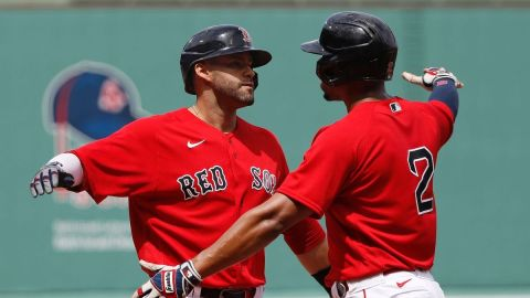 Boston Red Sox designated hitter J.D. Martinez, shortstop Xander Bogaerts