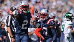 New England Patriots defensive backs Jalen Mills and J.C. Jackson