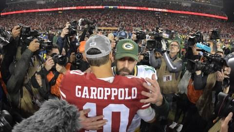 San Francisco 49ers quarterback Jimmy Garoppolo, Green Bay Packers quarterback Aaron Rodgers