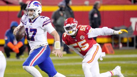 Buffalo Bills quarterback Josh Allen and Kansas City Chiefs defensive end Frank Clark