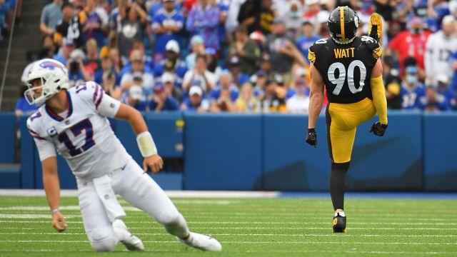 Buffalo Bills quarterback Josh Allen and Pittsburgh Steelers linebacker T.J. Watt