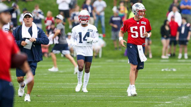 New England Patriots offensive coordinator Josh McDaniels and quarterback Mac Jones
