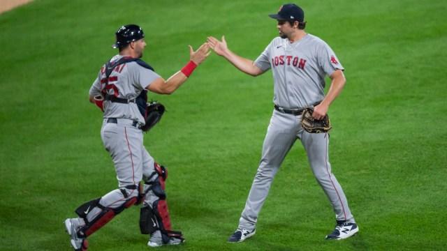 Boston Red Sox pitcher Josh Taylor, catcher Kevin Plawecki