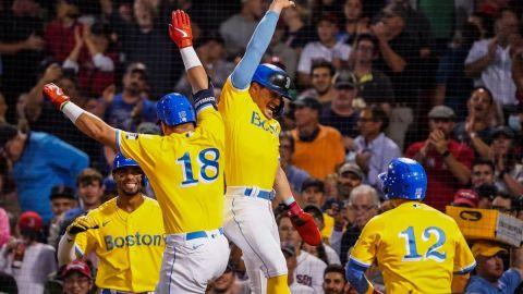 Boston Red Sox first baseman Kyle Schwarber, center fielder Kiké Hernández