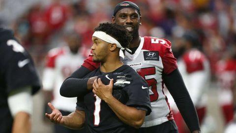 Arizona Cardinals linebacker Chandler Jones and quarterback Kyler Murray