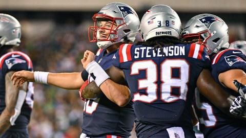 New England Patriots quarterback Mac Jones and running back Rhamondre Stevenson