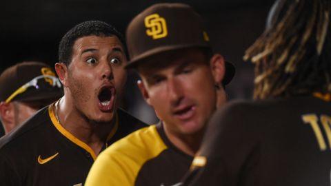 San Diego Padres infielders Manny Machado and Fernando Tatis Jr.