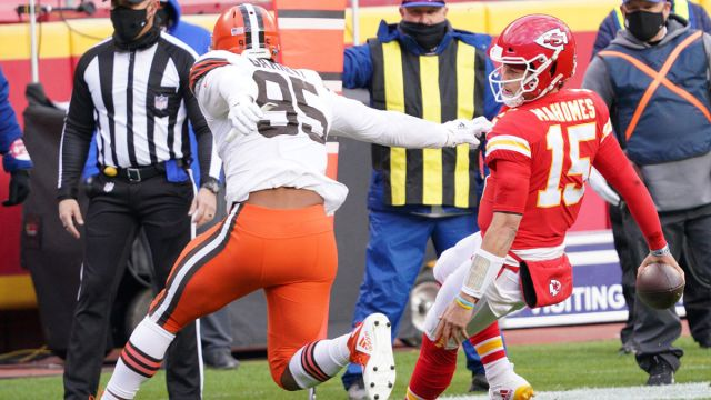 Cleveland Browns defensive end Myles Garrett and Kansas City Chiefs quarterback Patrick Mahomes