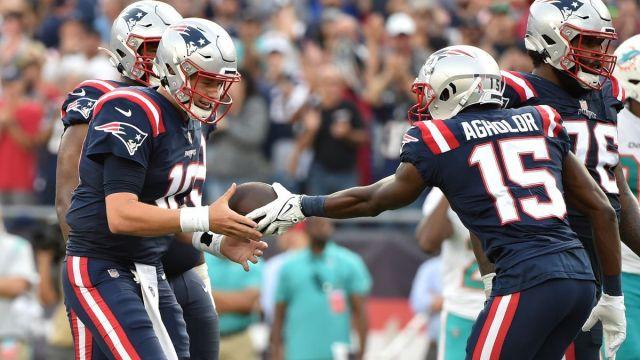 New England Patriots quarterback Mac Jones, receiver Nelson Agholor