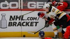 Boston Bruins forward Oskar Steen, Washington Capitals defenseman Zdeno Chara