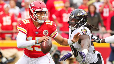 Kansas City Chiefs quarterback Patrick Mahomes and Baltimore Ravens linebacker Pernell McPhee