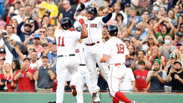 Boston Red Sox's Rafael Devers, Kyle Schwarber