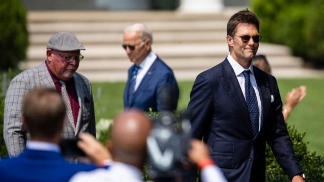 Tampa Bay Buccaneers quarterback Tom Brady, head coach Bruce Arians