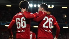 Liverpool defenders Trent Alexander-Arnold (left) and Andy Robertson