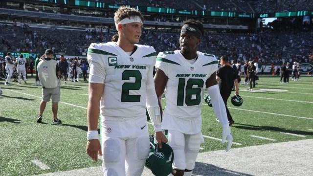 New York Jets quarterback Zach Wilson, wide receiver Jeff Smith