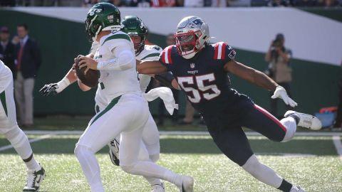 New York Jets quarterback Zach Wilson and New England Patriots linebacker Josh Uche