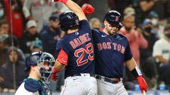Boston Red Sox first baseman Bobby Dalbec, catcher Kevin Plawecki