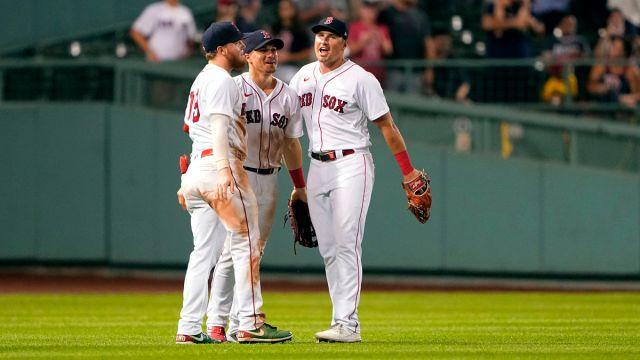 Boston Red Sox outfielders Alex Verdugo, Enrique Hernandez, Hunter Renfroe