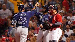 Tampa Bay Rays left fielder Randy Arozarena, designated hitter Nelson Cruz