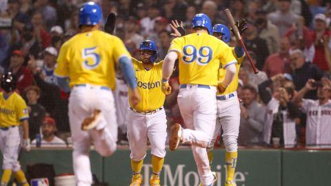 Boston Red Sox catcher Christian Vazquez, outfielder Alex Verdugo, outfielder Kike Hernandez