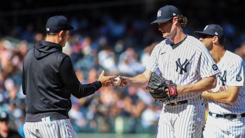 New York Yankees manager Aaron Boone, pitcher Gerrit Cole
