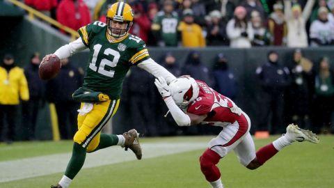 Green Bay Packers quarterback Aaron Rodgers and Arizona Cardinals safety Budda Baker