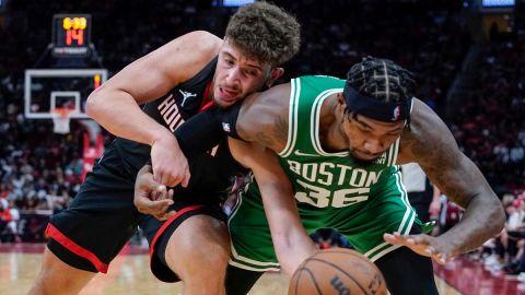 Houston Rockets center Alperen Şengün and Boston Celtics guard Marcus Smart