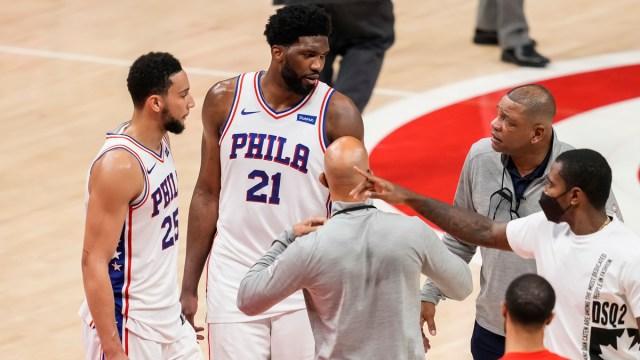 Philadelphia 76ers center Joel Embiid, forward Ben Simmons and head coach Doc Rivers