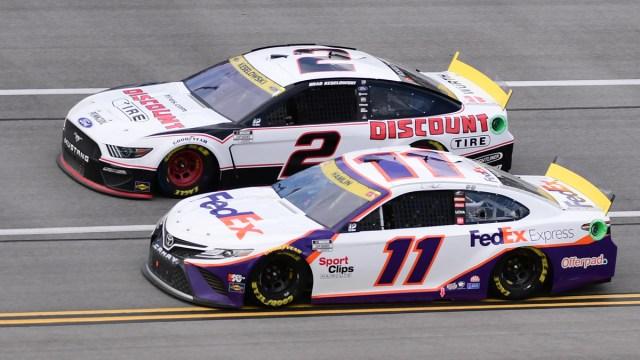 NASCAR Cup Series drivers Brad Keselowski and Denny Hamlin