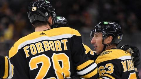 Boston Bruins Winger Brad Marchand and Defenseman Derek Forbort