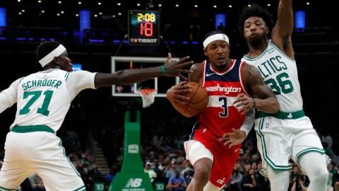 Washington Wizards guard Bradley Beal, Boston Celtics guards Marcus Smart, Dennis Schroder
