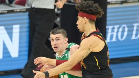 Boston Celtics guards Brodric Thomas and Payton Pritchard