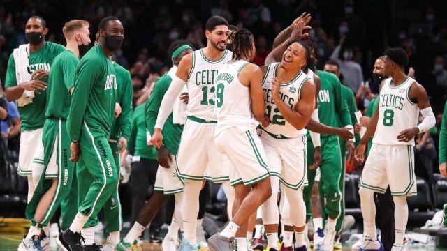 Boston Celtics' Romeo Langford, Grant Williams, Enes Kanter