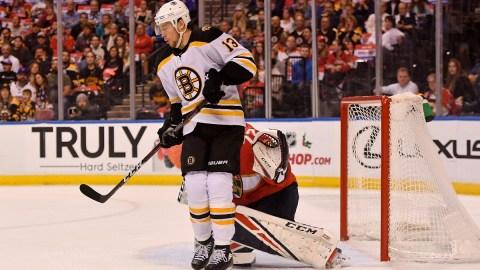 Boston Bruins center Charlie Coyle (13) and Florida Panthers goaltender Sergei Bobrovsky (72)