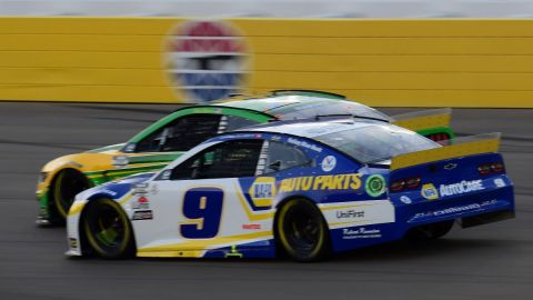NASCAR drivers Chase Elliott and Kevin Harvick
