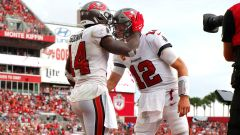 Tampa Bay Buccaneers wide receiver Chris Godwin and quarterback Tom Brady