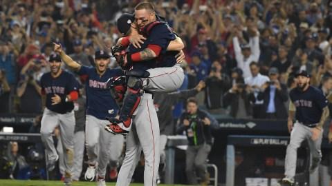 Boston Red Sox pitcher Chris Sale and catcher Christian Vázquez