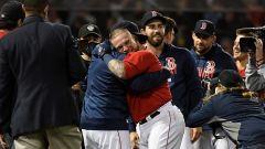 Boston Red Sox catcher Christian Vázquez, manager Alex Cora