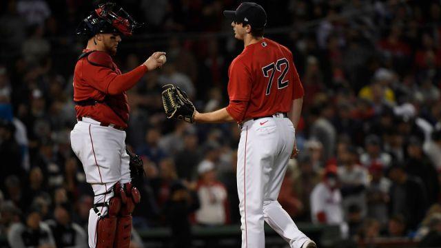 Boston Red Sox catcher Christian Vázquez and pitcher Garrett Whitlock