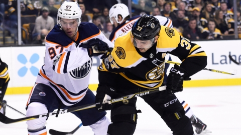 Boston Bruins center Patrice Bergeron, the Edmonton Oilers' Connor McDavid