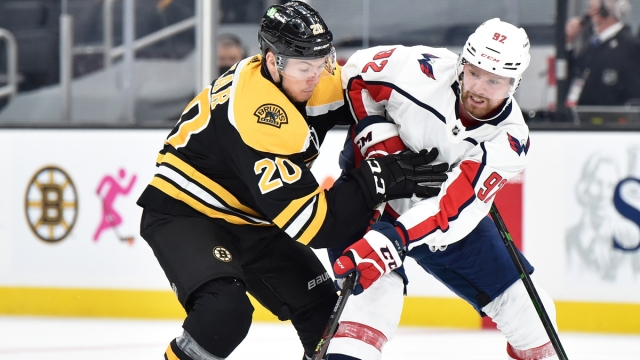 Boston Bruins center Curtis Lazar, Washington Capitals' Evgeny Kuznetsov