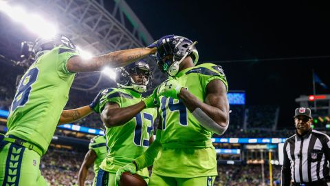 Seattle Seahawks wide receiver DK Metcalf and teammates