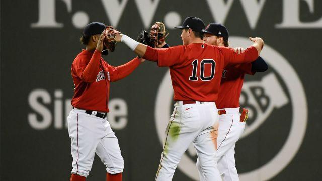 Boston Red Sox outfielders Danny Santana, Hunter Renfroe and Alex Verdugo