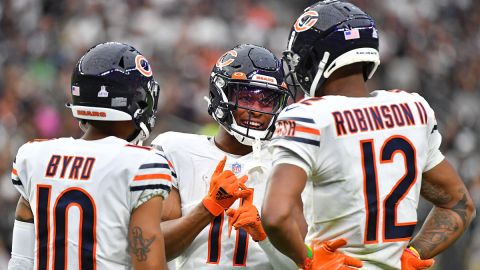 Chicago Bears wide receivers Darnell Mooney, Allen Robinson and Damiere Byrd