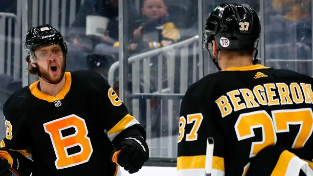 Boston Bruins Right-Winger David Pastrnak, Center Patrice Bergeron