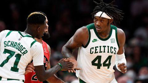 Boston Celtics players Dennis Schröder and Robert Williams