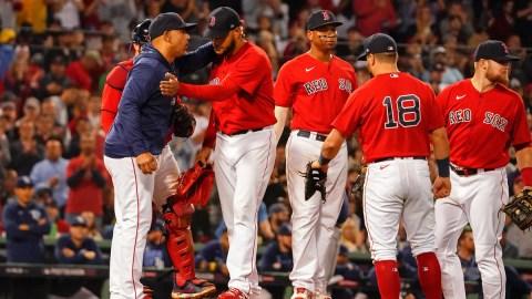 Boston Red Sox pitcher Eduardo Rodriguez, manager Alex Cora