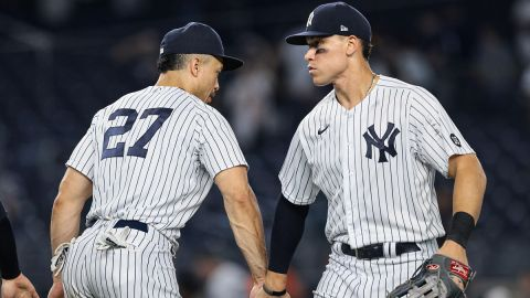 New York Yankees designated hitter Giancarlo Stanton and outfielder Aaron Judge